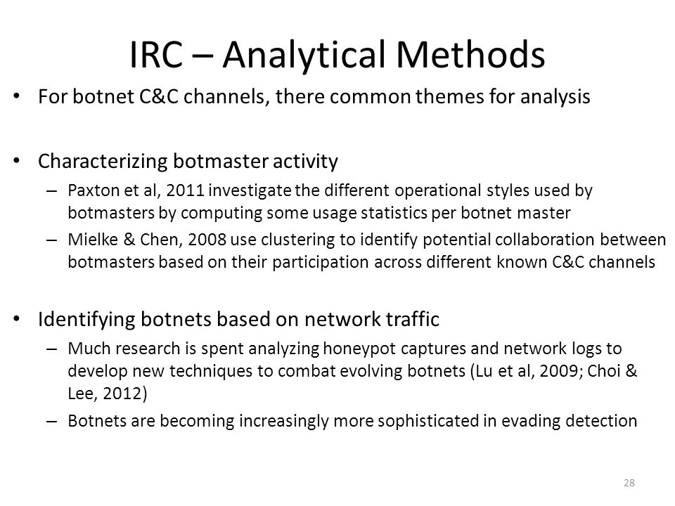 IRC – Analytical Methods