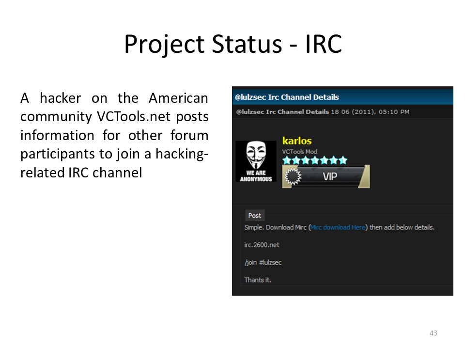 Project Status - IRC