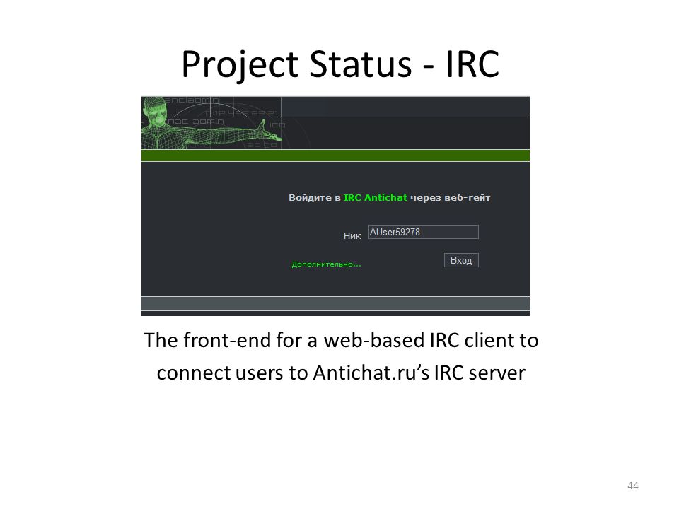 Project Status - IRC The front-end for a web-based IRC client to connect users to Antichat.ru's IRC server
