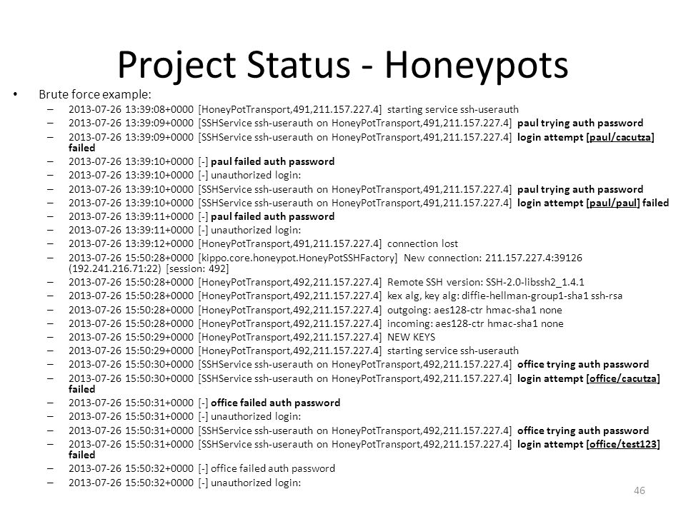 Project Status - Honeypots