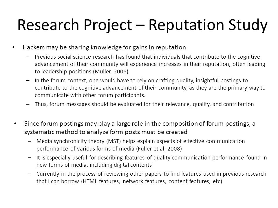 Research Project – Reputation Study