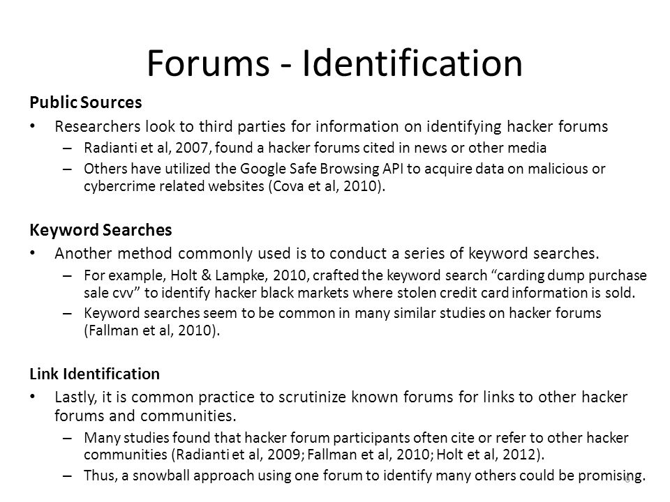 Forums - Identification