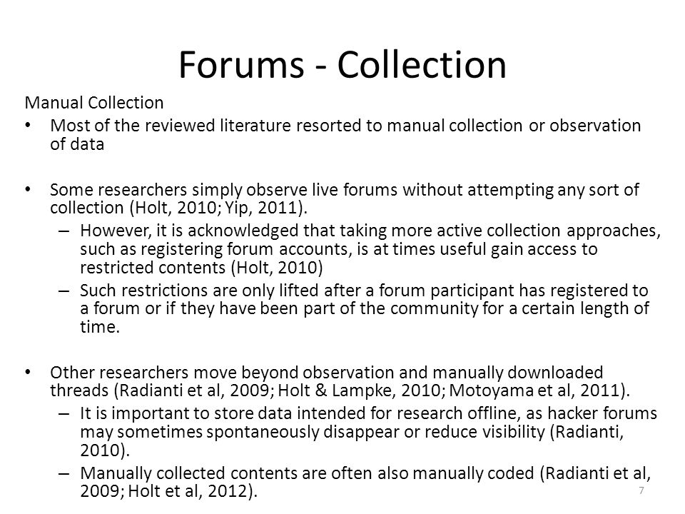 Forums - Collection Manual Collection