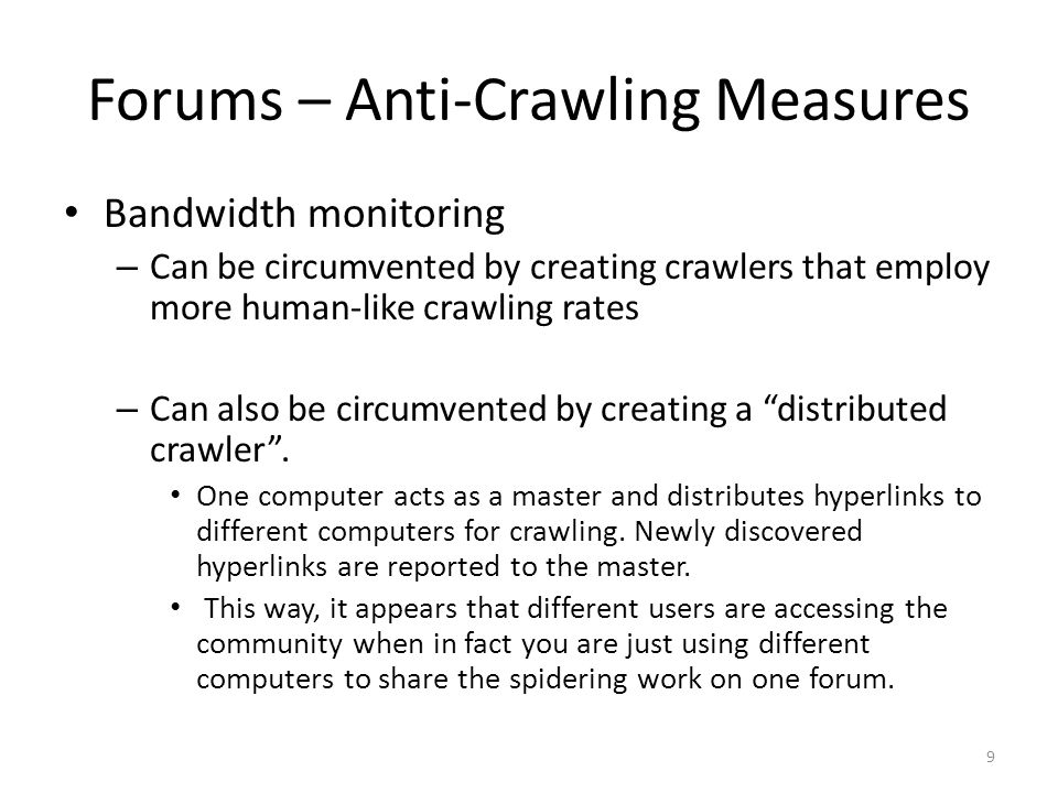 Forums – Anti-Crawling Measures