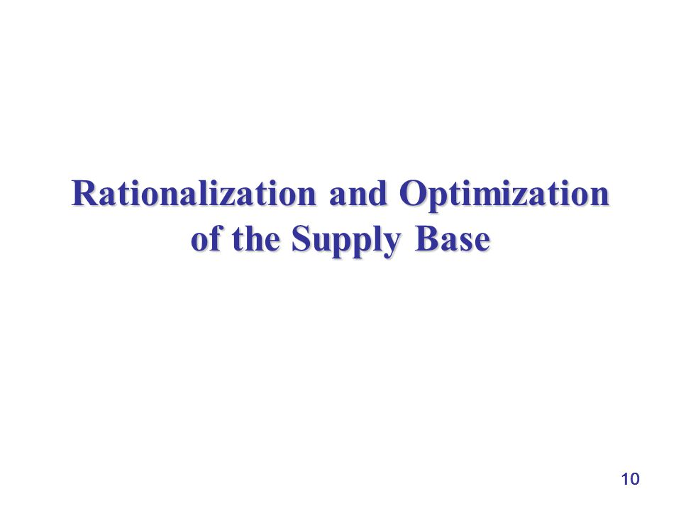 Rationalization and Optimization of the Supply Base