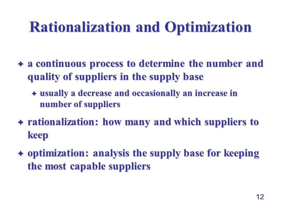Rationalization and Optimization