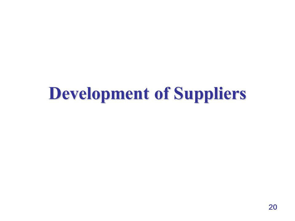 Development of Suppliers