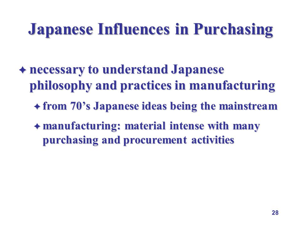Japanese Influences in Purchasing