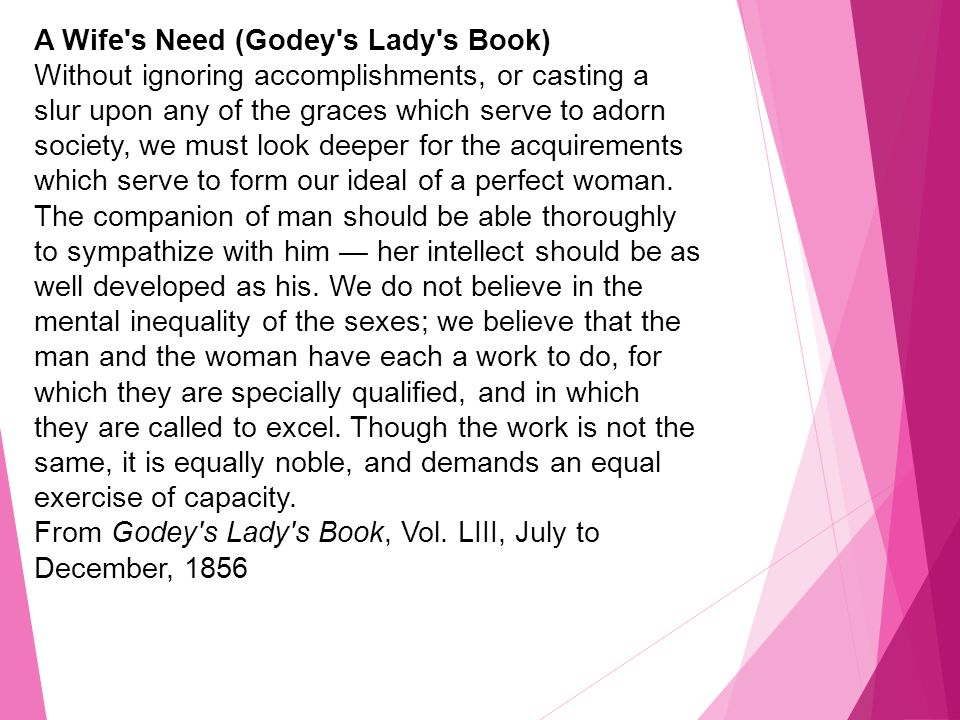 A Wife s Need (Godey s Lady s Book)