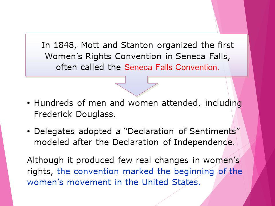 Hundreds of men and women attended, including Frederick Douglass.