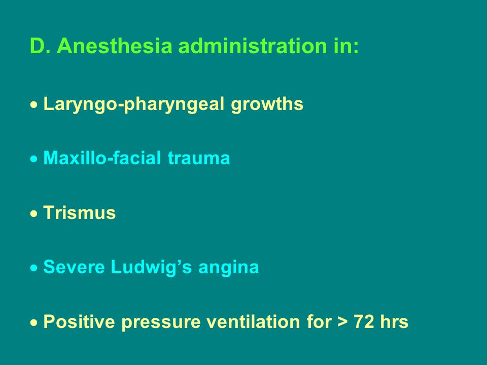D. Anesthesia administration in: