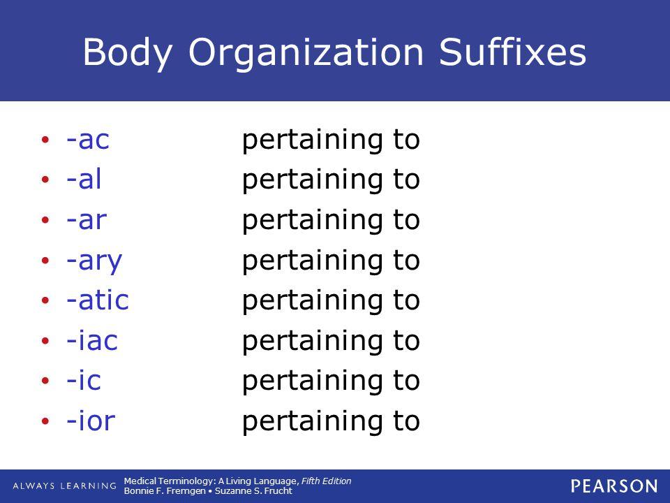 Body Organization Suffixes