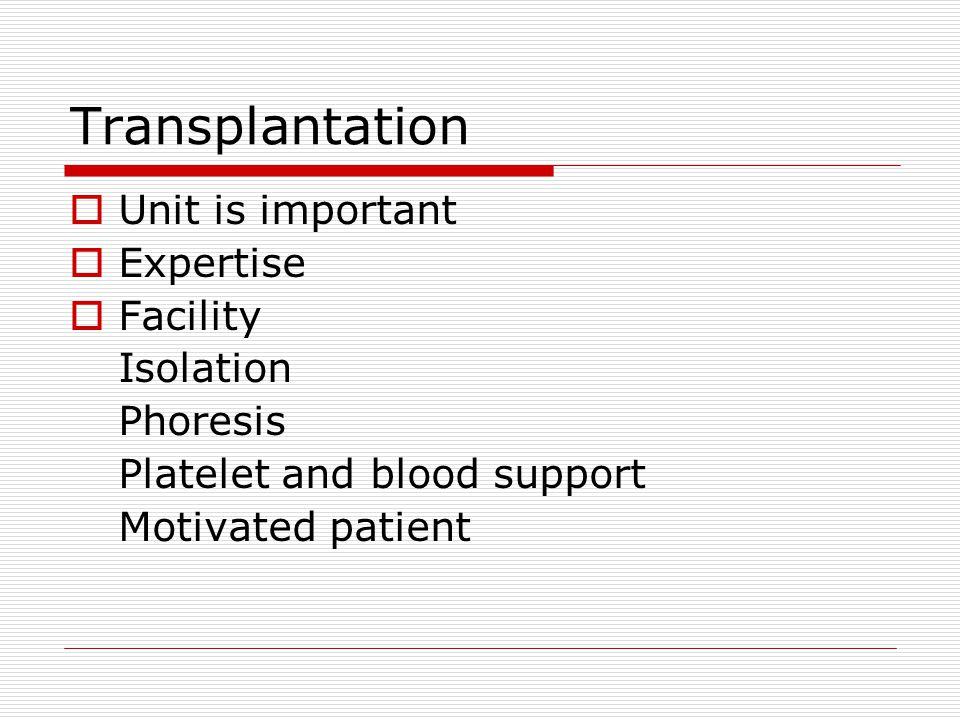 Transplantation Unit is important Expertise Facility Isolation