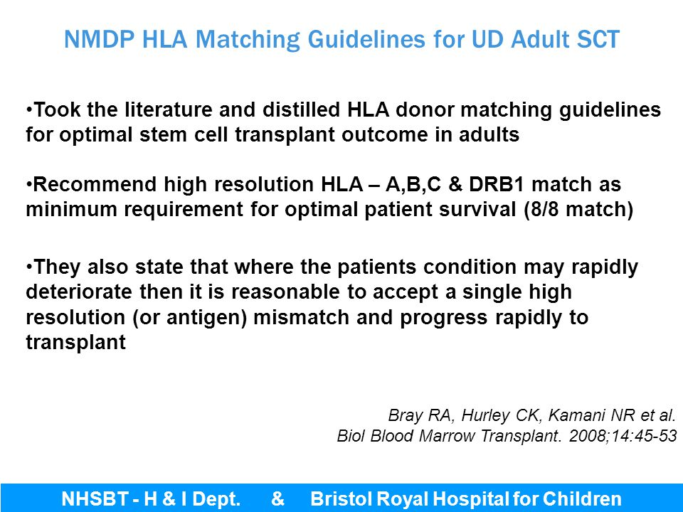 NMDP HLA Matching Guidelines for UD Adult SCT