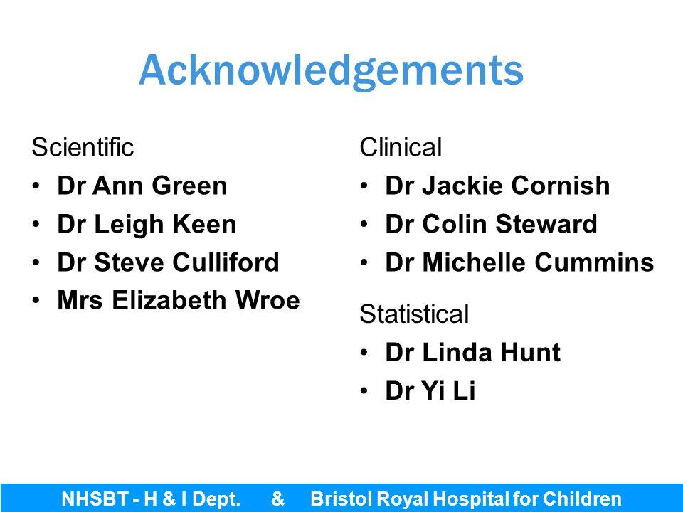 NHSBT - H & I Dept. & Bristol Royal Hospital for Children