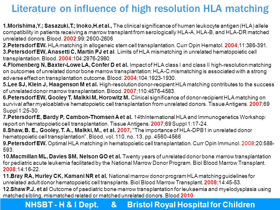 Literature on influence of high resolution HLA matching