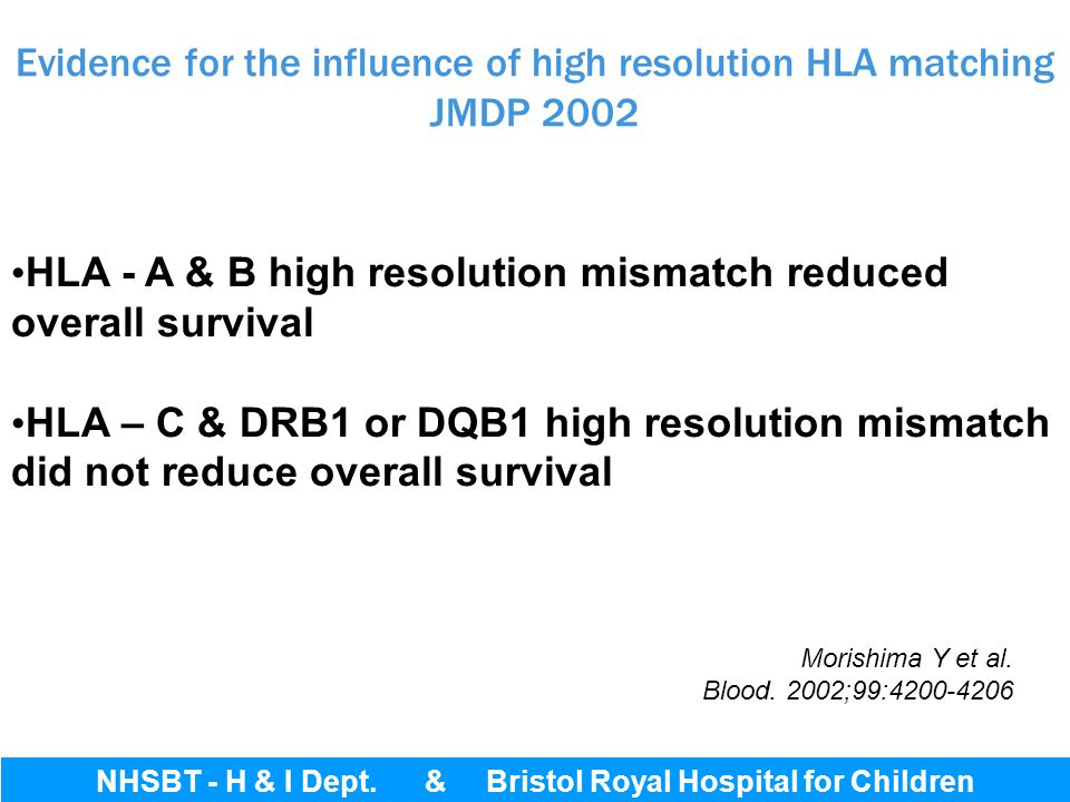 Evidence for the influence of high resolution HLA matching JMDP 2002