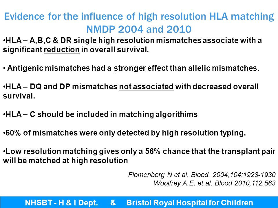 Evidence for the influence of high resolution HLA matching