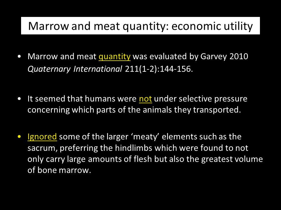 Marrow and meat quantity: economic utility