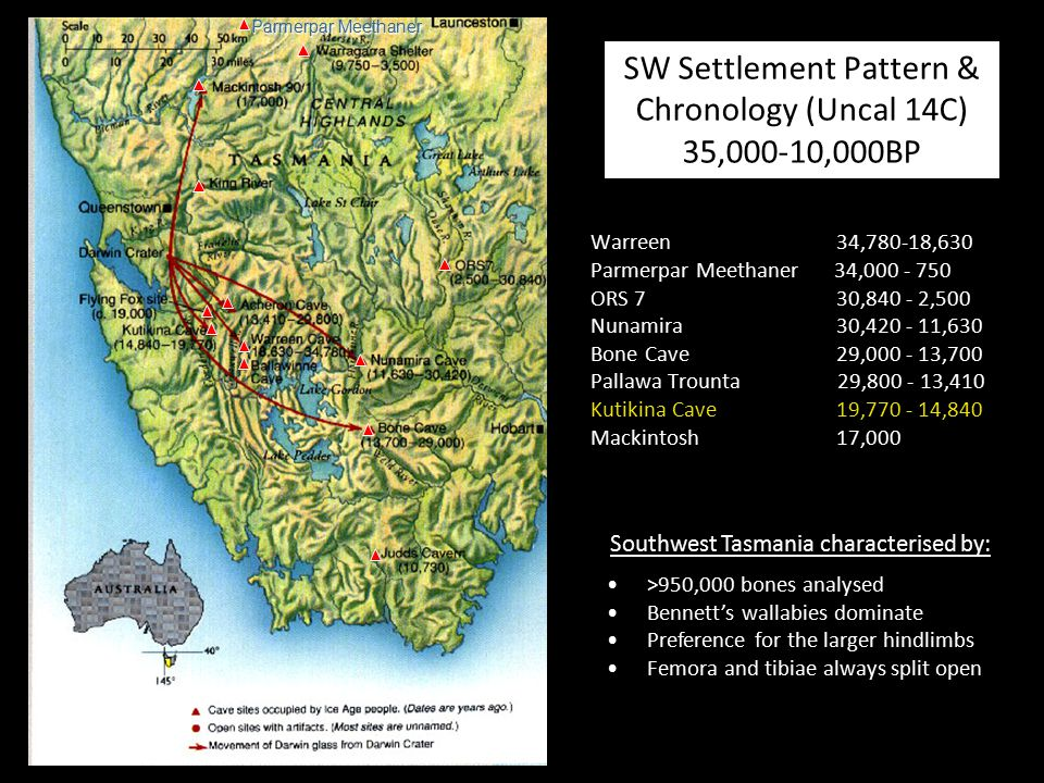 SW Settlement Pattern & Chronology (Uncal 14C) 35,000-10,000BP