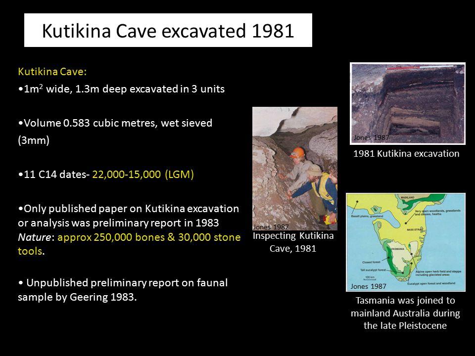 Kutikina Cave excavated 1981