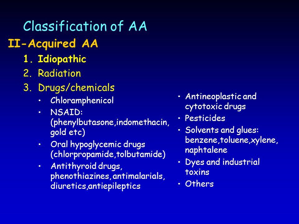 Classification of AA II-Acquired AA Idiopathic Radiation