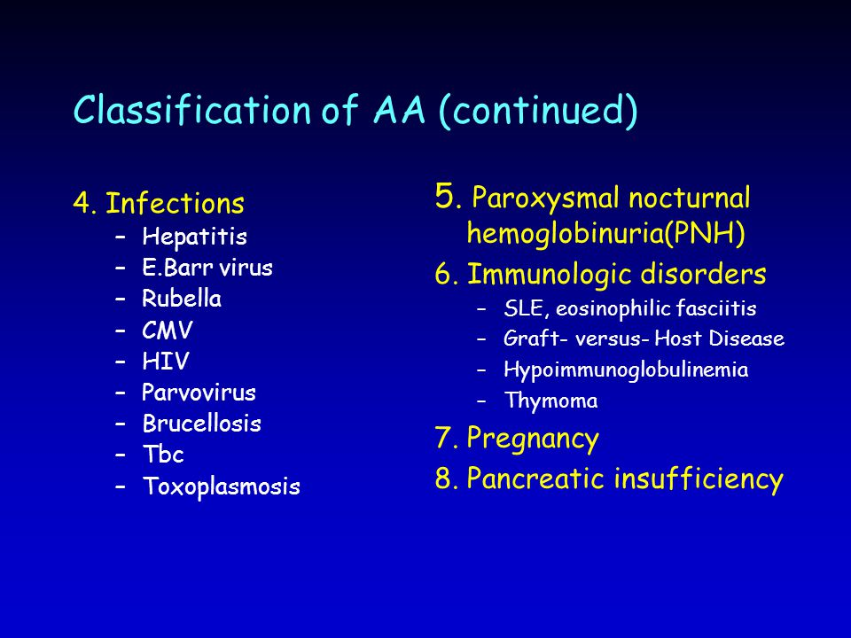 Classification of AA (continued)