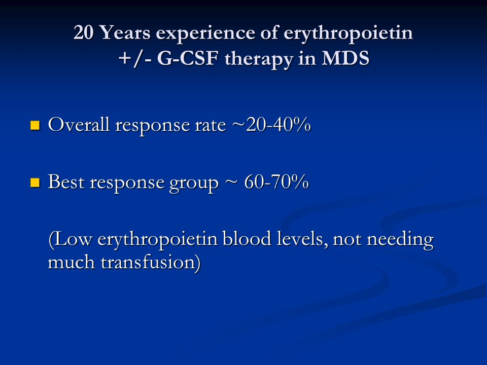 20 Years experience of erythropoietin +/- G-CSF therapy in MDS