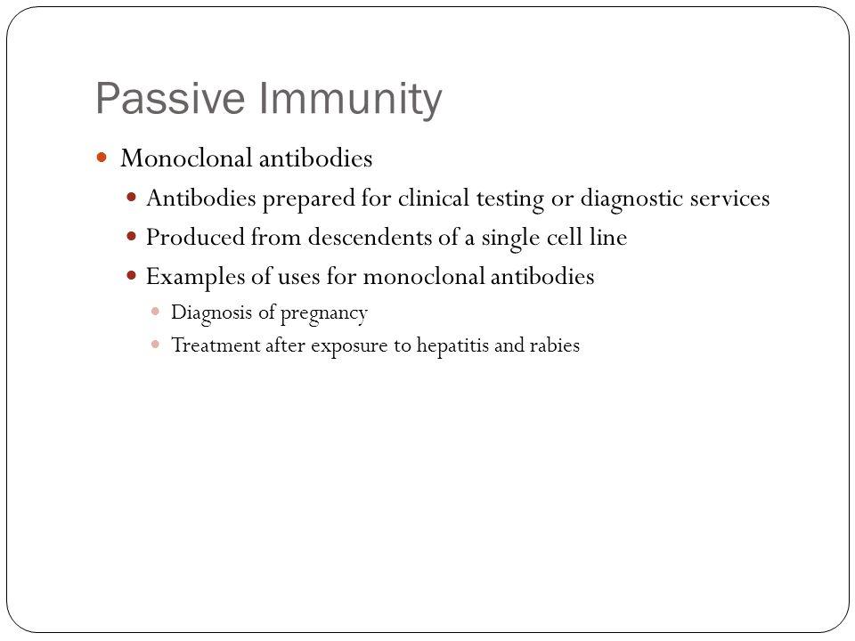 Passive Immunity Monoclonal antibodies
