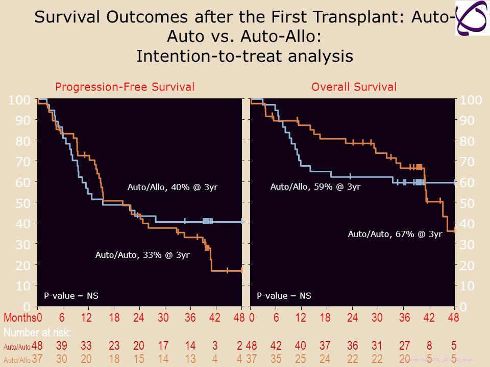 Survival Outcomes after the First Transplant: Auto-Auto vs