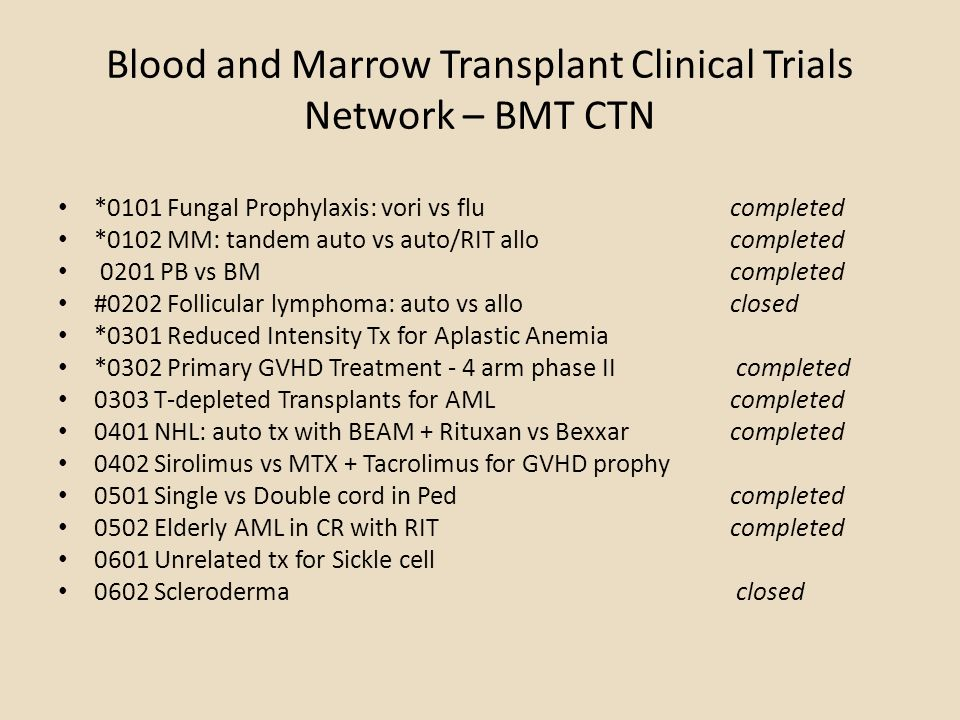 Blood and Marrow Transplant Clinical Trials Network – BMT CTN