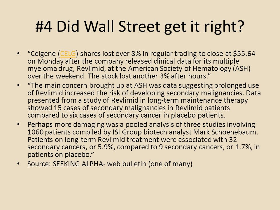 #4 Did Wall Street get it right