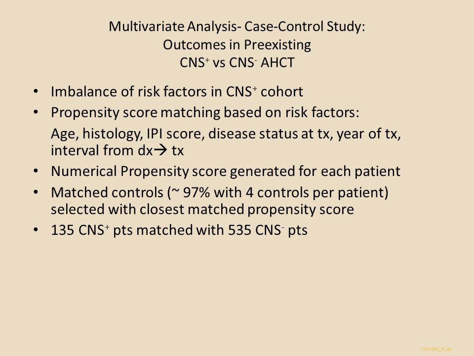 Imbalance of risk factors in CNS+ cohort