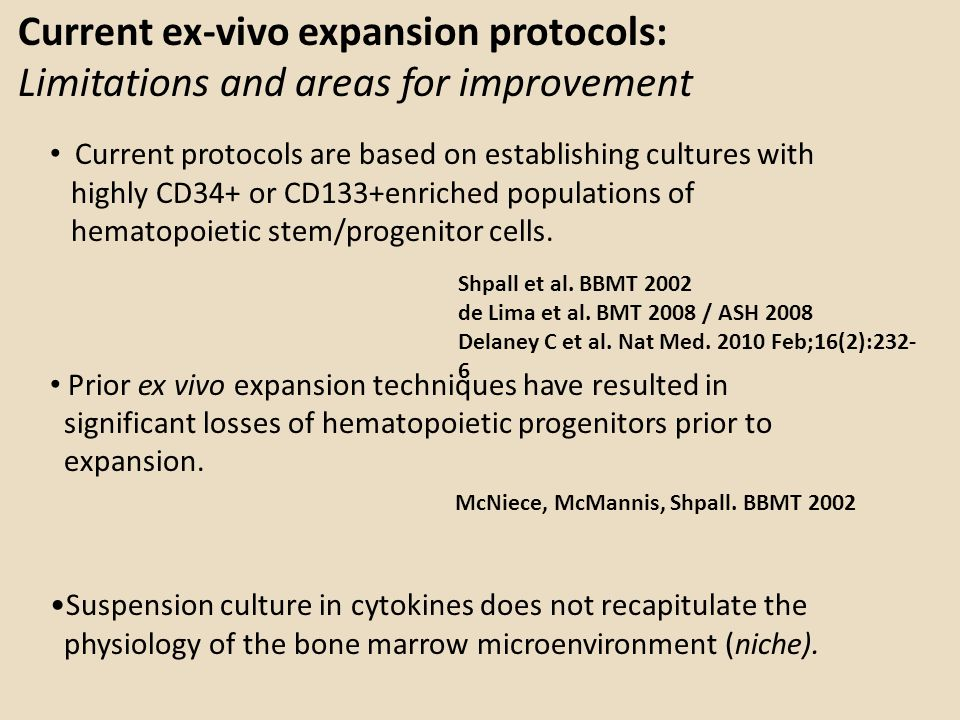 Current ex-vivo expansion protocols: