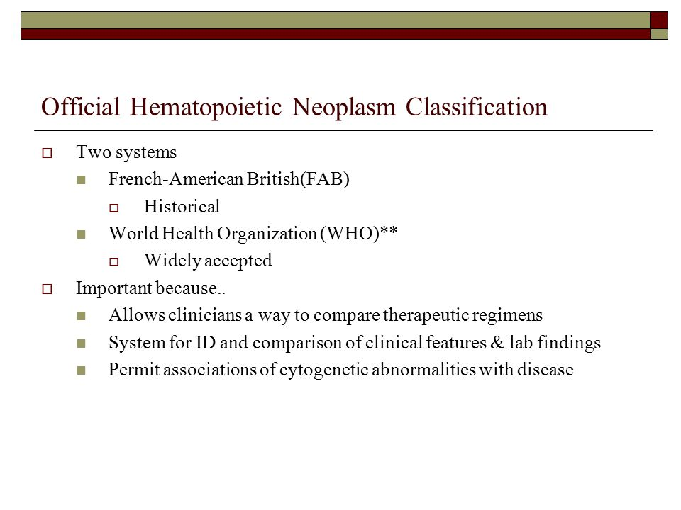 Official Hematopoietic Neoplasm Classification