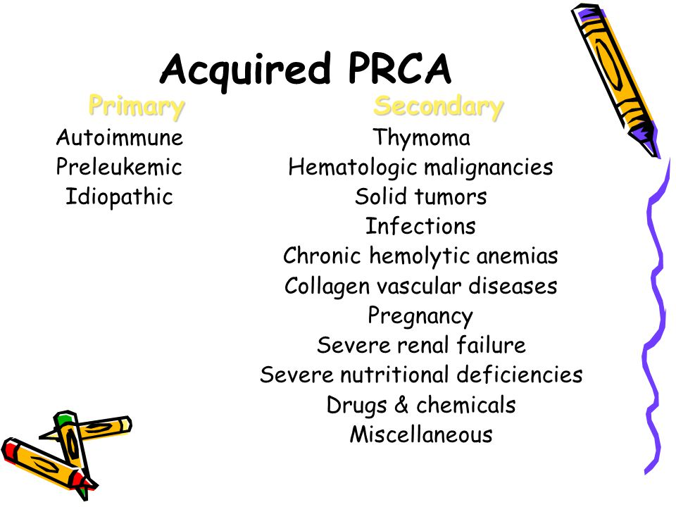 Acquired PRCA Primary Secondary Autoimmune Preleukemic Idiopathic