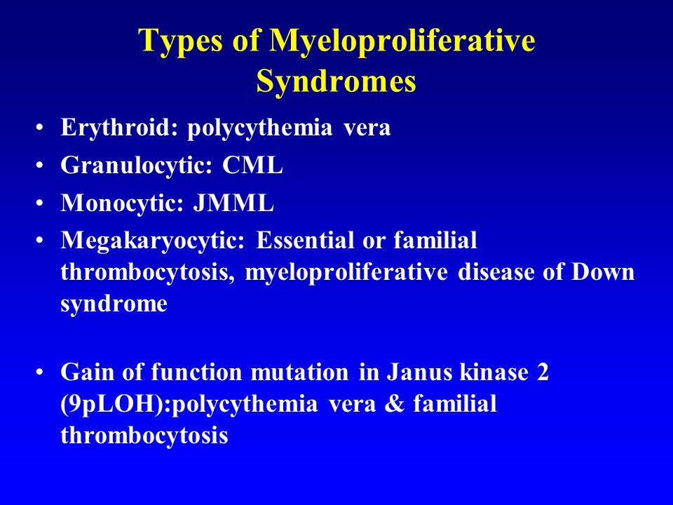 Types of Myeloproliferative Syndromes