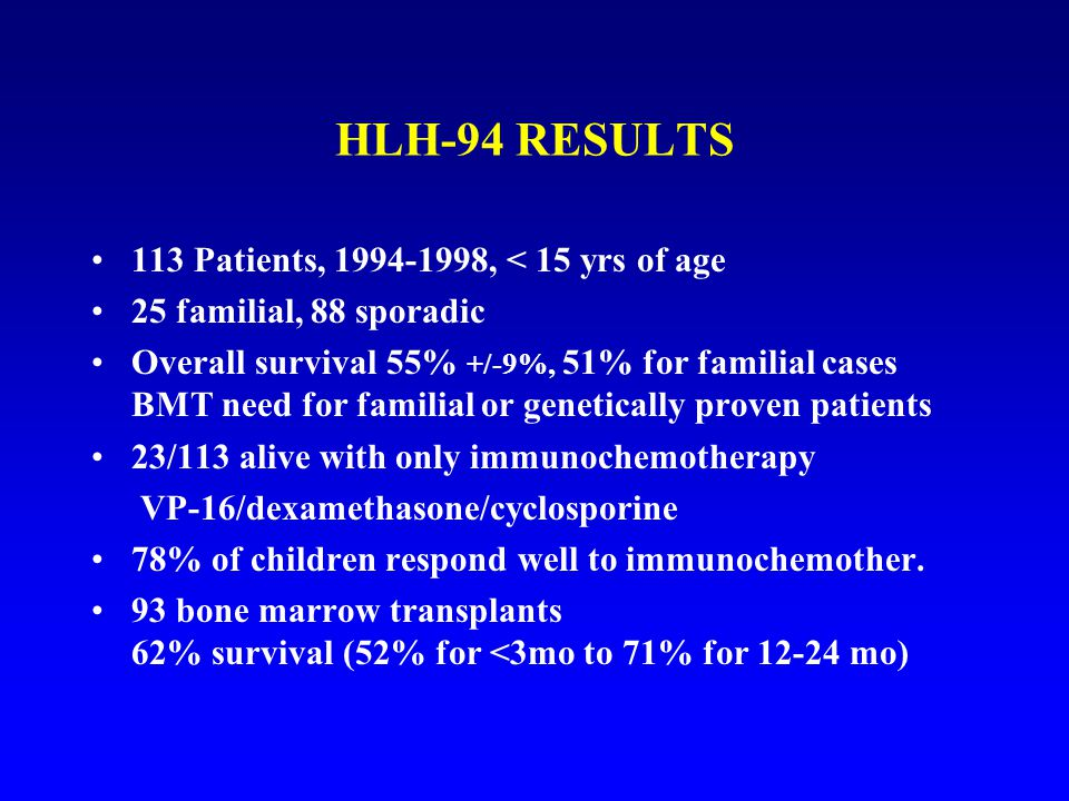 HLH-94 RESULTS 113 Patients, 1994-1998, < 15 yrs of age