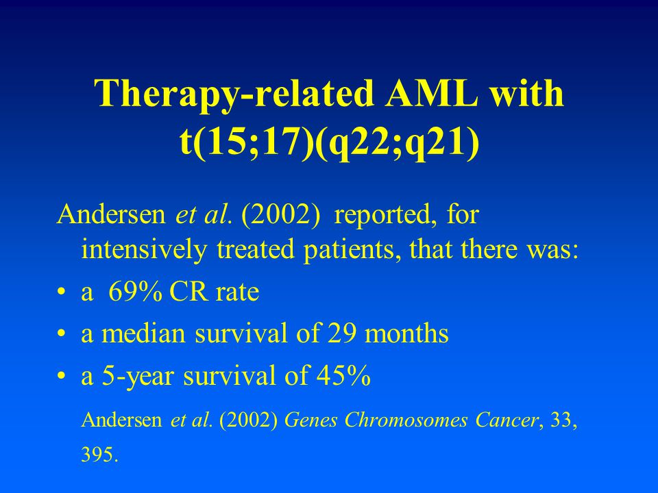 Therapy-related AML with t(15;17)(q22;q21)