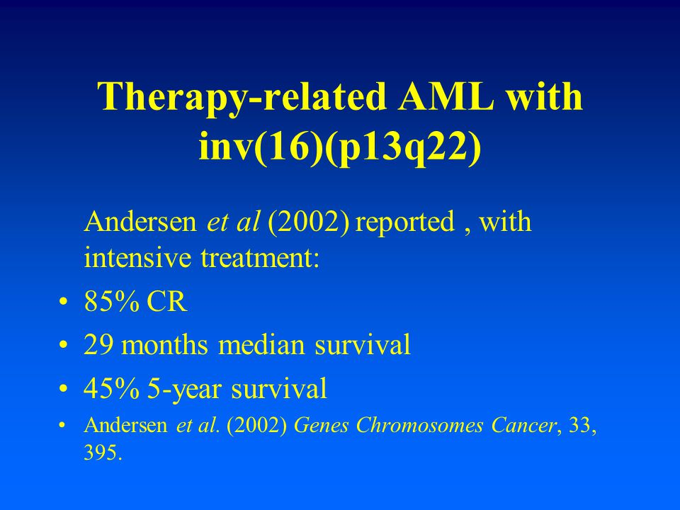 Therapy-related AML with inv(16)(p13q22)