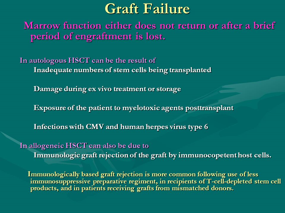 Graft Failure Marrow function either does not return or after a brief period of engraftment is lost.