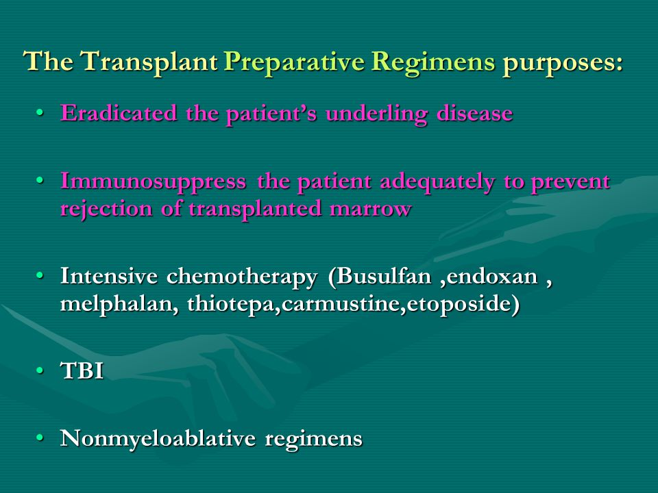 The Transplant Preparative Regimens purposes: