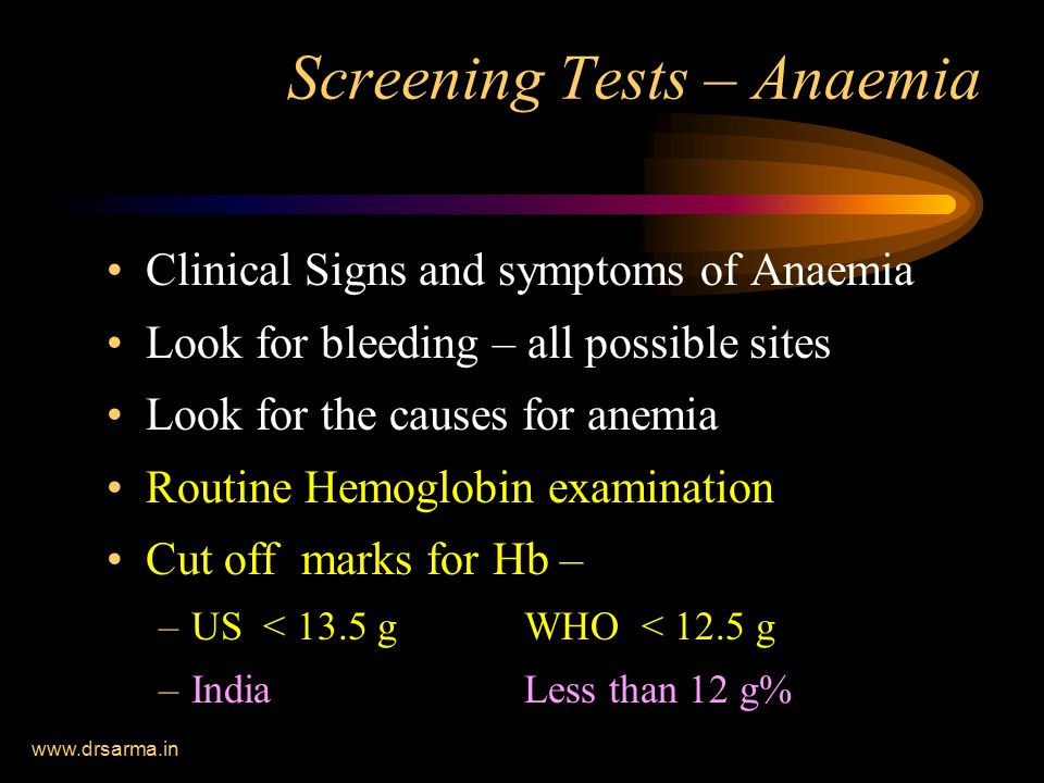 Screening Tests – Anaemia