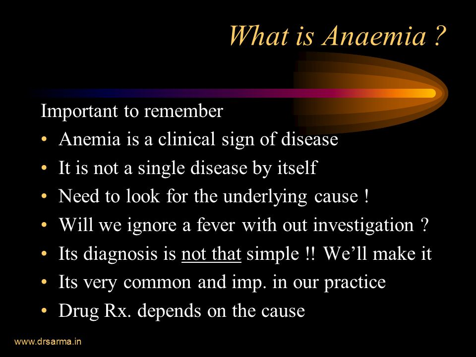 What is Anaemia Important to remember