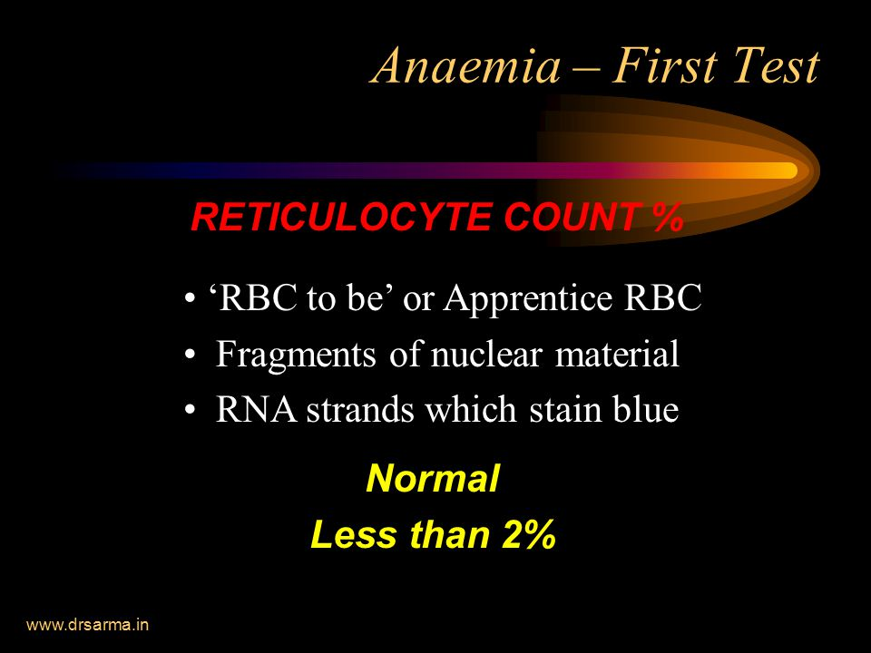Anaemia – First Test RETICULOCYTE COUNT %