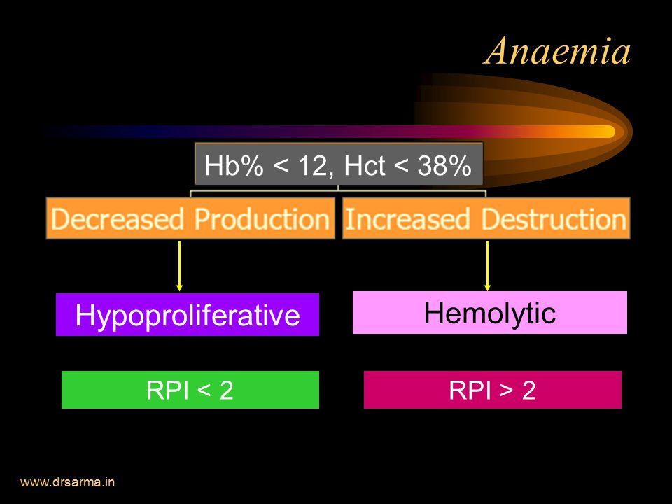 Anaemia Hypoproliferative Hemolytic Hb% < 12, Hct < 38%