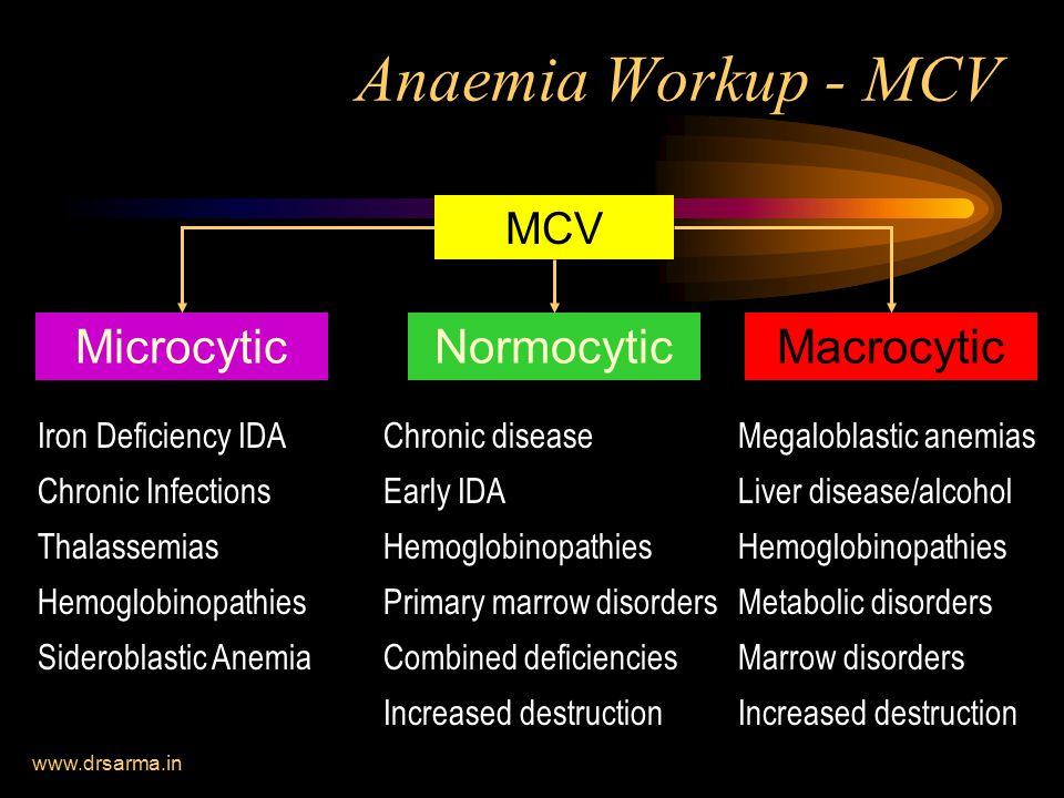 Anaemia Workup - MCV Microcytic Normocytic Macrocytic MCV
