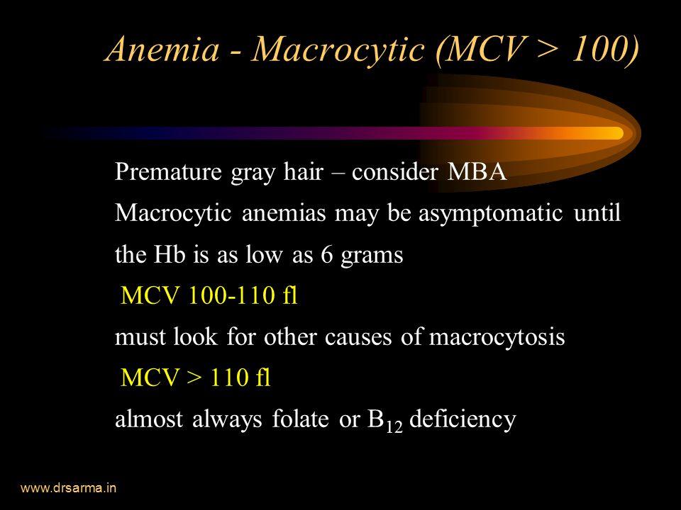 Anemia - Macrocytic (MCV > 100)