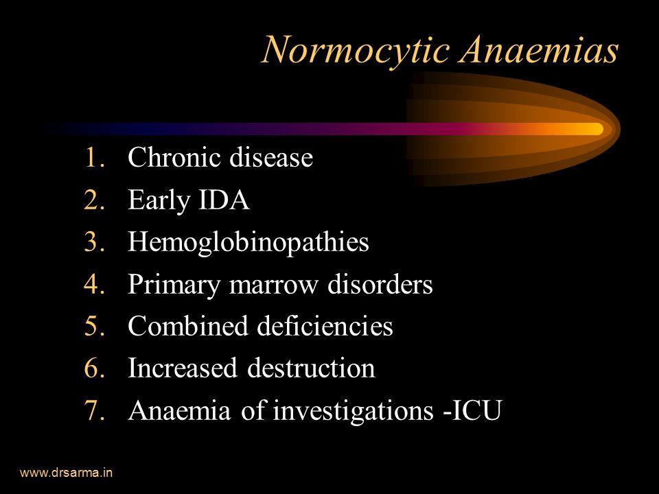 Normocytic Anaemias Chronic disease Early IDA Hemoglobinopathies