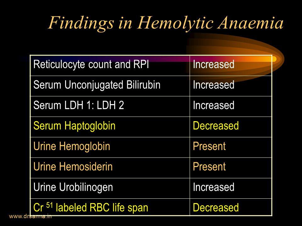 Findings in Hemolytic Anaemia